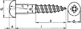 DIN 7996 — шуруп саморез с полукруглой головкой и неполной резьбой.