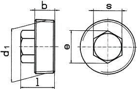 DIN 909 — резьбовая пробка с шестигранной головкой.