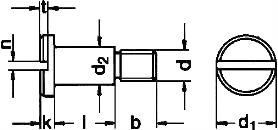 DIN 923 — винт с уменьшенной плоской головкой с резьбовой цапфой.