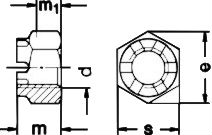 DIN 935 — гайка корочнатая прорезная.