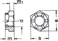 Гайка DIN 937 - размеры, характеристики.