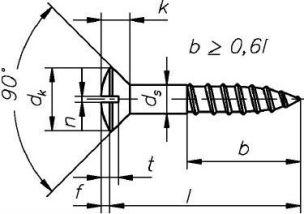 DIN 95 — шуруп по дереву с полупотайной головкой.