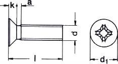DIN 965 — винт с потайной головкой с крестообразным шлицем.