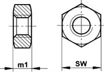 DIN 970 — гайка резьбовая шестигранная.