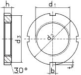 DIN 981 — гайка шлицевая круглая КМ.