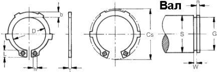 DIN 983 — кольцо стопорное наружное с лапками.
