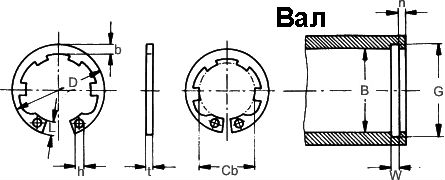 DIN 984 — кольцо стопорное внутренее с лапками.
