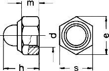 DIN 986 — гайка колпачковая со стопорным кольцом.