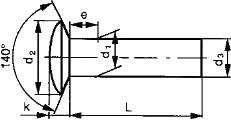 Заклепка с полупотайной головкой ГОСТ 10301-80 — размеры и характеристики.