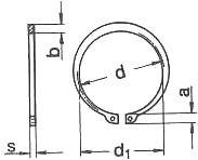 Схема размеров стопорных колец DIN 471