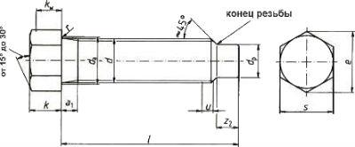 Болт с уменьшенной шестигранной головкой ГОСТ 1481-84 — размеры и характеристики.