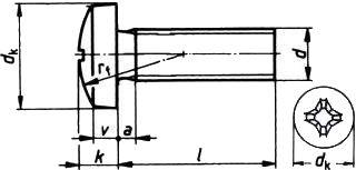 Винт с полукруглой головкой ISO 7045 со шлицом Philips — размеры и характеристики.
