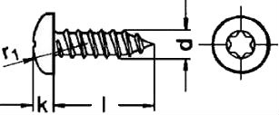 Шуруп самонарезающий ISO 7049 со шлицом Torx— размеры и характеристики.