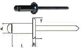 Заклепка вытяжная стандартная комбинированная со стандартным бортиком (медь - оцинкованная сталь)