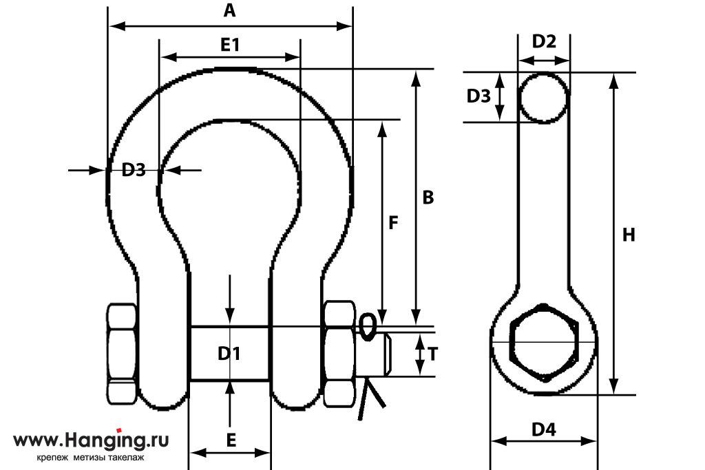 Схема основных размеров скобы омега с болтом 57 мм для груза до 35 тонн