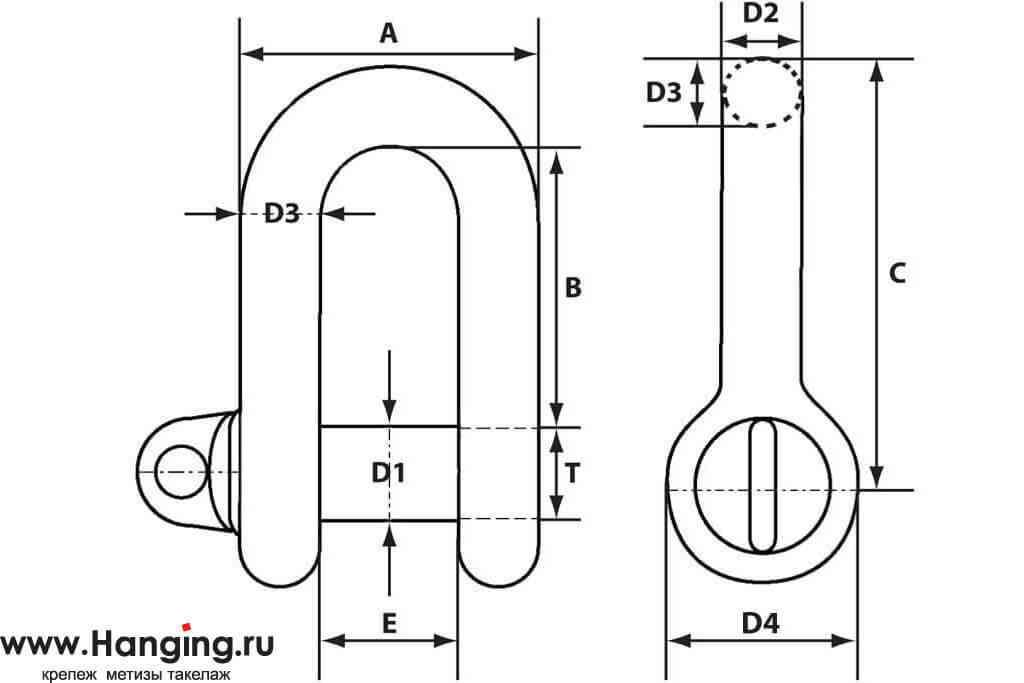 Размерная схема такелажных скоб прямого типа 39 мм