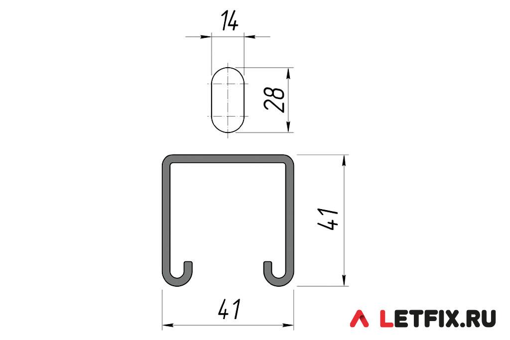 Размерная схема отверстий монтажного страт профиля 41*41 мм