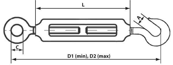 Схема и размеры талрепа петля-крюк (крюк-кольцо)