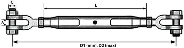 Характеристики закрытого вилочного талрепа М36