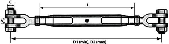 Характеристики оцинкованного закрытого талрепа М24 вилка-вилка