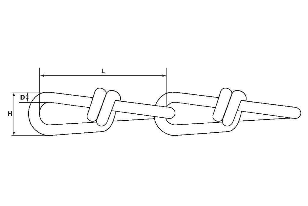 Чертеж стальной витой узловой цепи DIN 5686