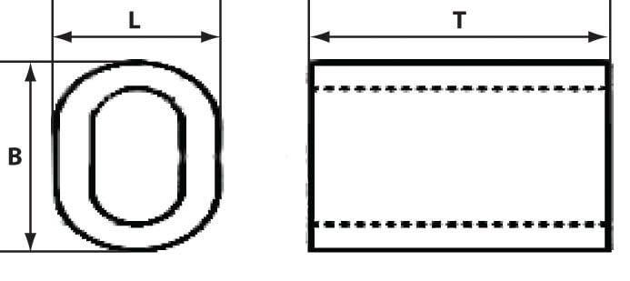 Схема размеров алюминиевого зажима для троса 7 мм