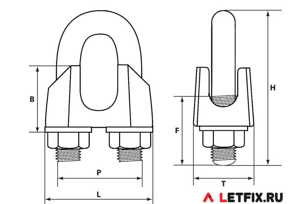 Схема размеров зажима стального троса и каната 30 мм