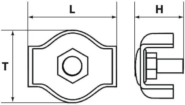 Схема размеров зажима Симплекс для тросов и канатов диаметром 5 мм