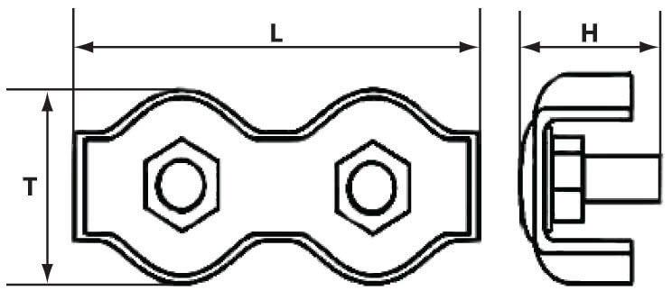 Схема с размерами двойного зажима Duplex для троса диаметром 4 мм