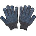 Полушерстяные перчатки (4 нити) с ПВХ, чёрные